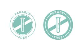 Paraben free vector cosmetic package label. Paraben free label icon for skincare cosmetic shampoo or cream package design. Vector paraben free products logo with stock illustration