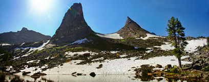 Parabola. Panorama of the rock the parabola with lake artists, Ergaki Stock Images