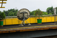 A parabola for signal telecommunication transmitter in train station photo taken in Jakarta Indonesia. Java Stock Image