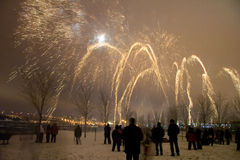 Parabolic Ambers. A fireworks show in the old port of Montreal stock photography