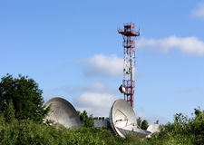 Parabolic antenna satellite communications Royalty Free Stock Photos