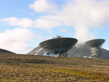 Parabolic Antenna in Svalbard. How can they comunicate to the world Royalty Free Stock Photo