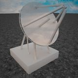 Parabolic antenna under blue sky. Square image, 3d rendering Royalty Free Stock Images