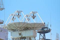 Free Parabolic Antennas Of A Warship. Radar Or Radiolocation Device. Stock Photo - 191287410