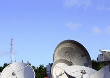 Parabolic antennas satellite communications Stock Images