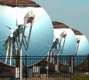 Parabolic dish solar collectors Royalty Free Stock Photo