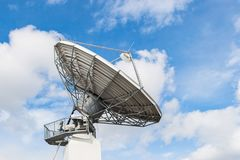 Parabolic satellite antenna for wireless data transfer. Parabolic satellite antenna dish for wireless radio signal data transfer Royalty Free Stock Photos