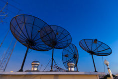 Parabolic satellite antennas Royalty Free Stock Images