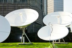 Parabolic satellite dish receivers Royalty Free Stock Photo