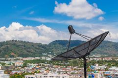 Parabolic satellite dish space technology receiver Royalty Free Stock Images