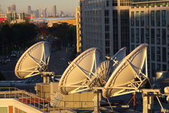 Parabolic satellite dish space technology receivers Royalty Free Stock Photography