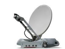 Parabolische Antenne der Satellitenschüssel getrennt auf Weiß Lizenzfreie Stockfotos