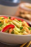 Paraboloïde de riz avec le chou, le poulet et la crevette Image stock