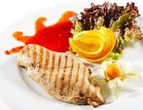 Paraboloïdes chauds de viande - bifteck grillé de poulet Photo libre de droits