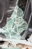 Parabrezza rotto nell'incidente stradale Fotografia Stock Libera da Diritti