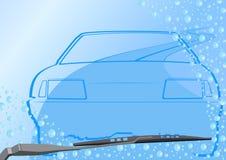 Parabrisas automotor y el coche stock de ilustración