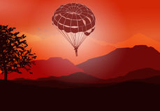 Paracadute di volo Immagine Stock