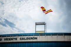 Paracadutista con la bandiera della Spagna Fotografia Stock Libera da Diritti