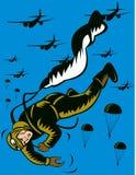 Paracadutista della seconda guerra mondiale Fotografie Stock