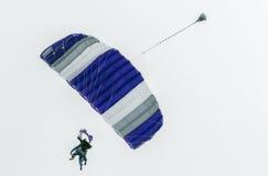 Paracadutisti in tandem di immersione subacquea di cielo che scivolano verso l'atterraggio Immagini Stock