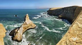 Paracas Nationale Reserve, Ica Region, Vreedzame kust van Peru Stock Afbeeldingen