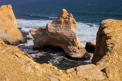 Paracas Peninsula, Catedral rock, Coast Peru Royalty Free Stock Images