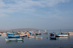 Paracas, peru. The fishing boats in the paracas lake Royalty Free Stock Images