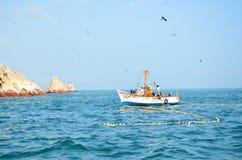 PARACAS, PERU - 9. JUNI 2013: Fischer, welche die Fischernetze mit dem Fang des Tages anheben Stockbilder