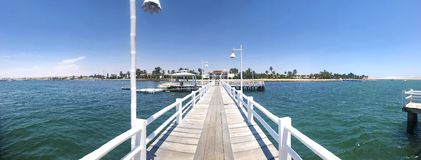 Panoramic view of symmetrical pier at national natural reserve of Paracas royalty free stock photography