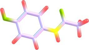 Paracetamol molecular model Royalty Free Stock Photo