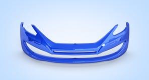 Parachoques delantero del coche en el fondo azul 3d de la pendiente ilustración del vector