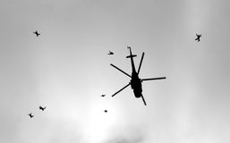 Parachut jump from helicopter. Free fall parachut jump from helicopter Stock Photo