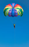 Parachute. Multi coloured parachute over the blue sky Stock Photography