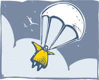 Parachute. Very fat person parachuting through the sky after bailout stock illustration