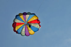 Parachute. Multi-coloured parachute against the sky Stock Photo