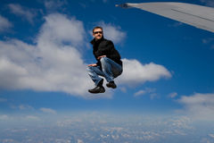 Without parachute. Man has jumped without parachute Stock Images
