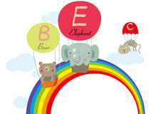 Parachute and animals. Illustration of Parachute and the animals fly over the rainbow Stock Illustration