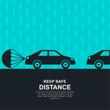 The parachute attached. To the car against with exclamation marks, symbolizing about increase in a distance between vehicles and vigilance. The concept of Royalty Free Stock Photo