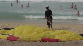 Parachute on the beach stock video