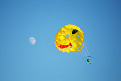 A parachute being towed at sea Stock Photos