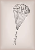 Parachute chute brolly or guardian angel with men person fly, fl Royalty Free Stock Photography
