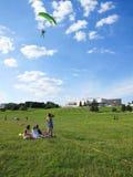 Parachute competition in Vilnius center park Stock Photos