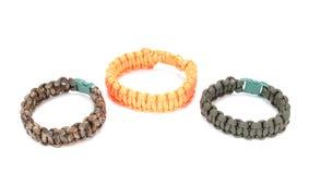 Parachute cord survival bracelet Stock Photos