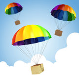 parachute 3d et présent colorés Image stock