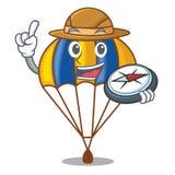 Parachute de vol d'explorateur dans le ciel de mascotte illustration libre de droits