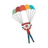 Parachute Extreme sport athlete avatar. Illustration design royalty free illustration