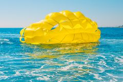 The parachute fell on the water. Parasailing - safety measures - an emergency royalty free stock photography