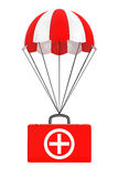 Parachute with First Aid Case on a white. Background Stock Photos