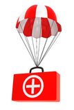 Parachute with First Aid Case on a white. Background Stock Photo
