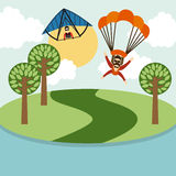 Parachute fly Royalty Free Stock Photo